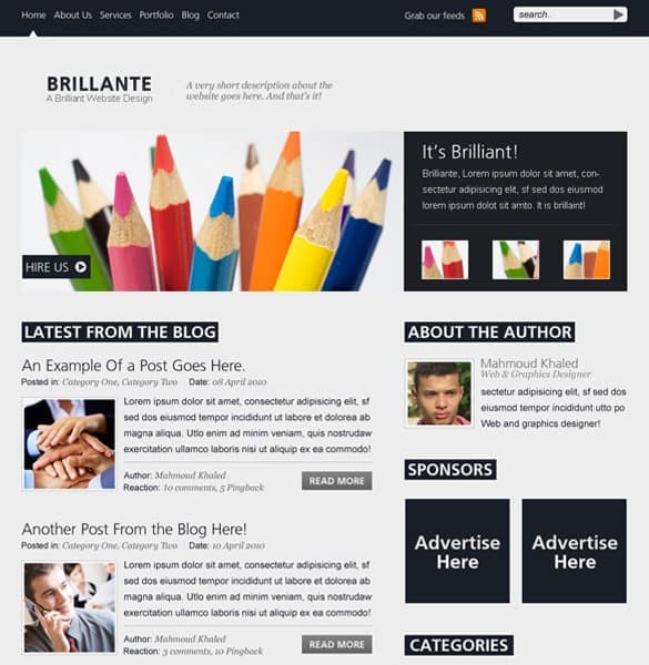 Brilliante Website/Blog Layout PSD