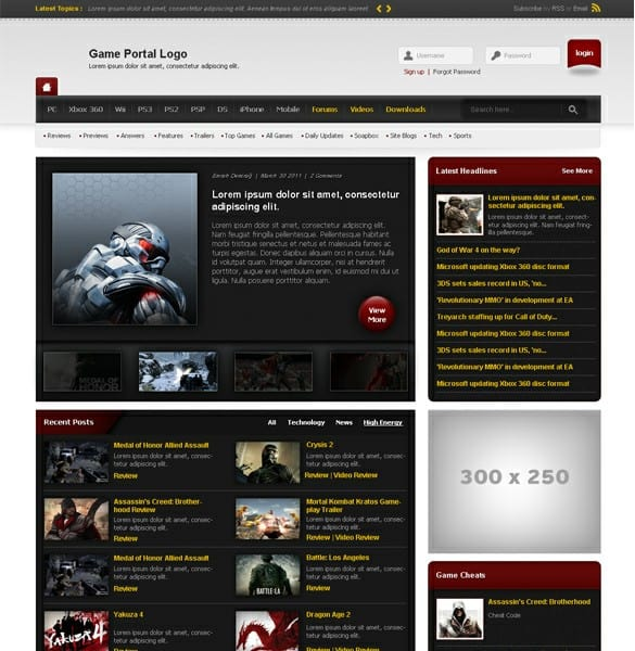 Game News Portal Template PSD