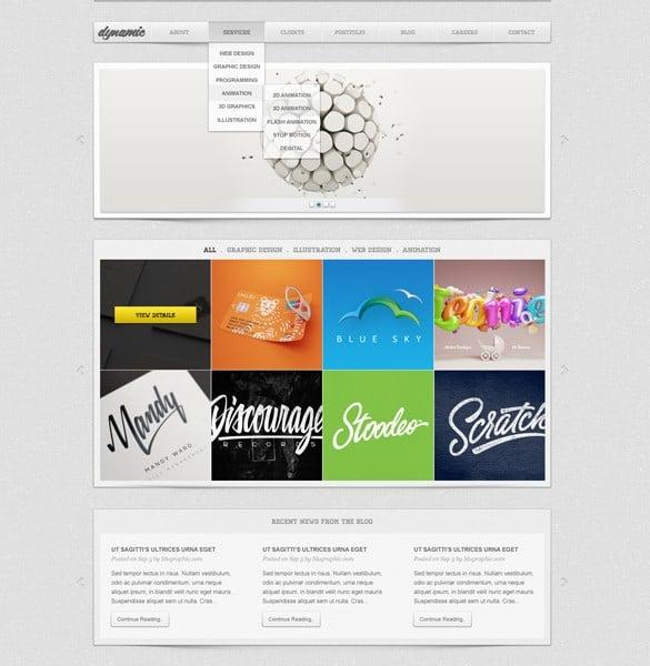 Dynamic Portfolio Website Template PSD