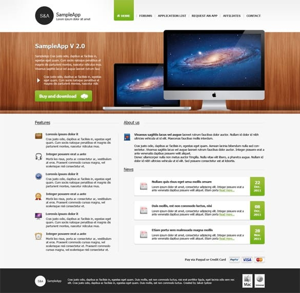 MacApp Website Template Design PSD
