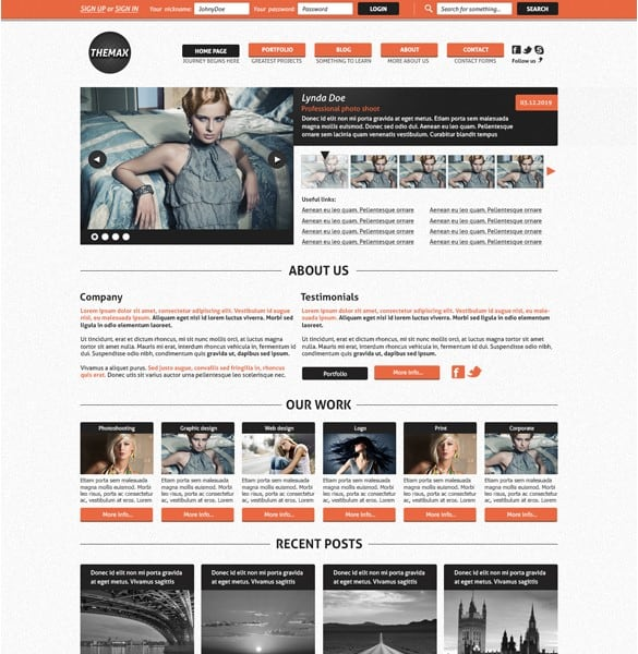 Themax Photographer PSD Website Template