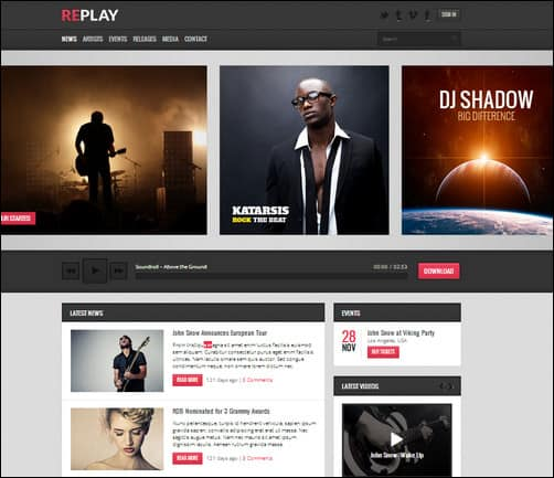 replay wordpress music theme