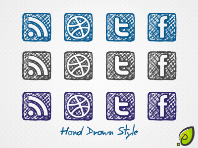 4 social icons – hand drawn style