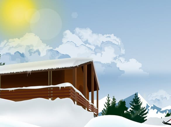 Mountain Ski Lodge Vector Illustration