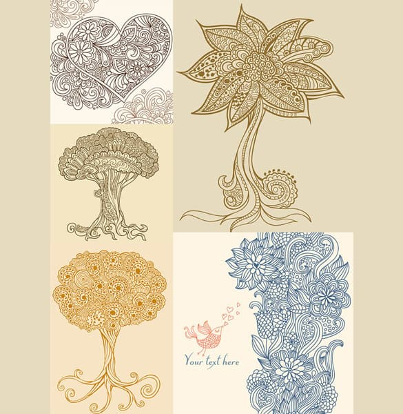 Vintage Art Abstract Floral and Trees