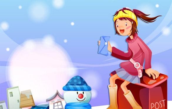 Happy Snowy Holiday Vector Scene