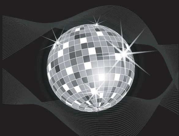 Sparkling Disco Ball Vector on Black