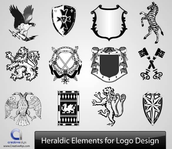 12 Heraldic Elements Logo Design Set