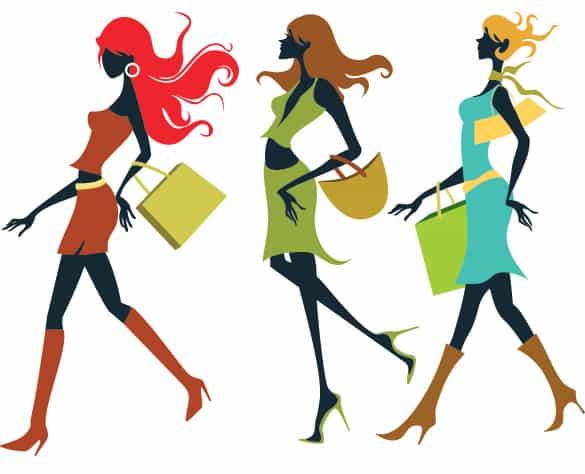 Girls Off to Shop Vector Illustration