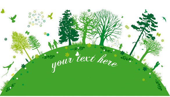 Green Planet Trees & People Vector