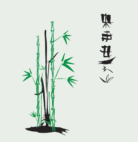 Japanese Bamboo Ink Vector Illustration