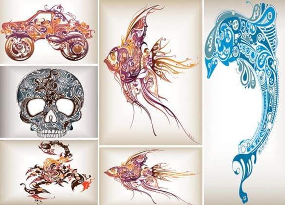 Abstract Design Vectors Fish Scorpion Truck