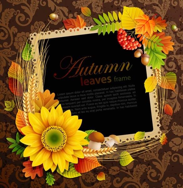 Autumn Colors Floral Frame Vector