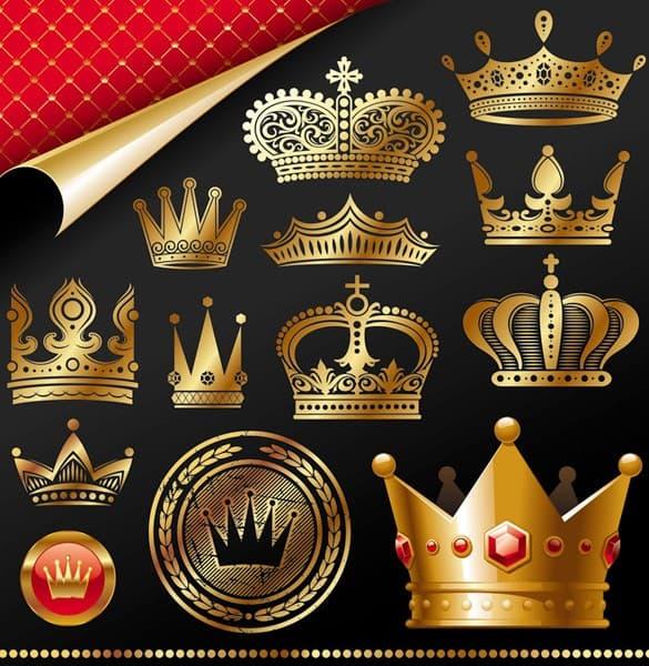 Golden Royal Crown Vector Set