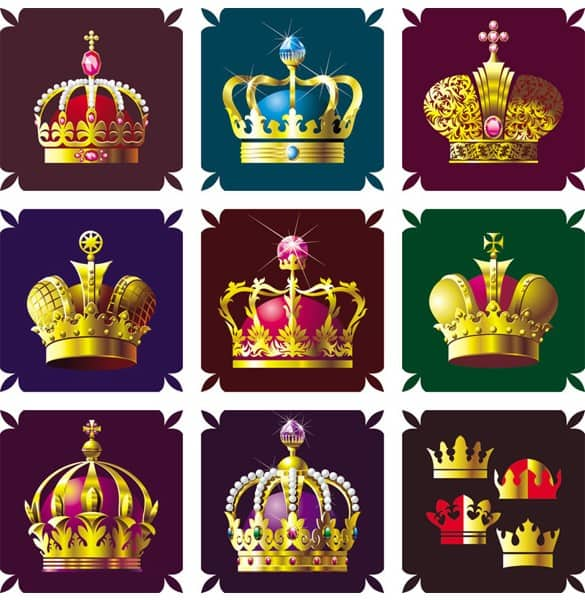 12 Colorful Ornate Royal Vector Crowns