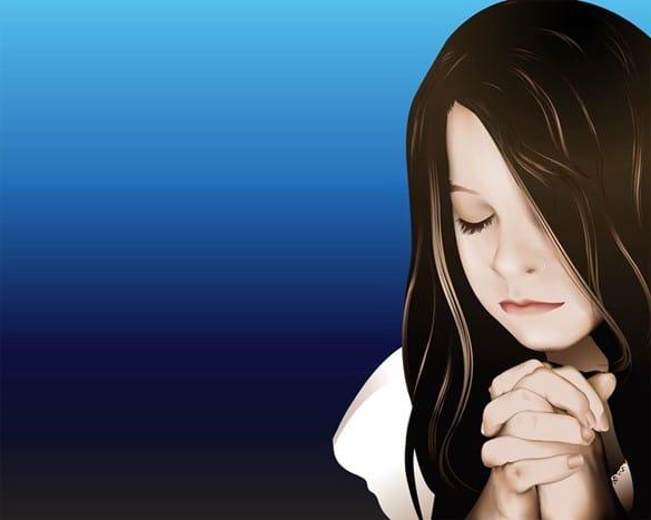 Touching Vector Portrait of Praying Girl
