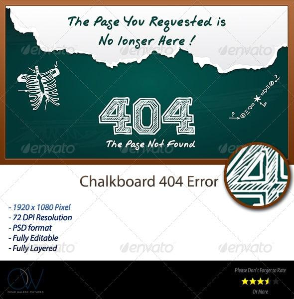 Chalkboard 404 Error Web Page