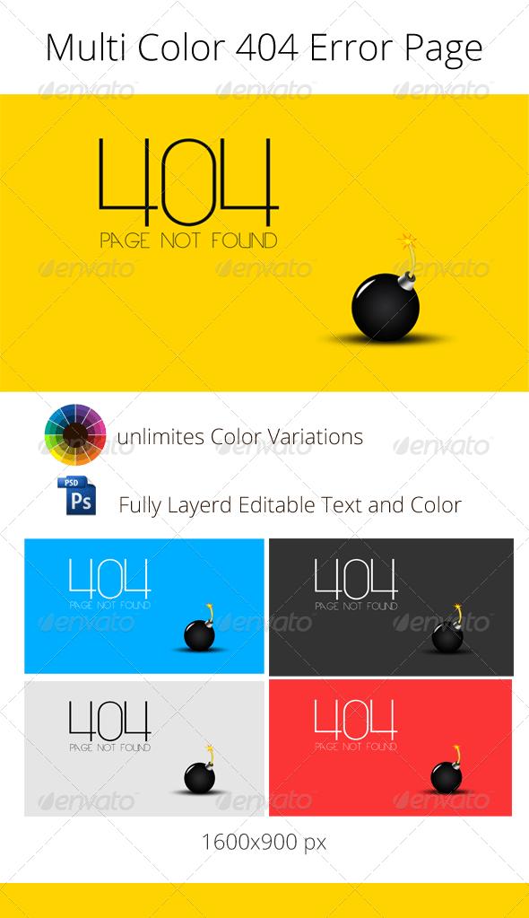 Multi Color 404 Error Web Page Template