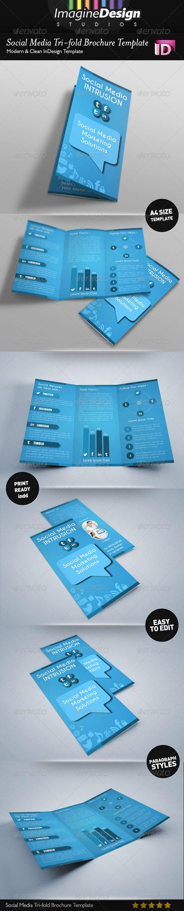 Social Media Tri-fold Brochure Template