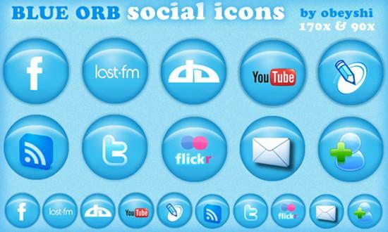 Blue Orb Social Icons