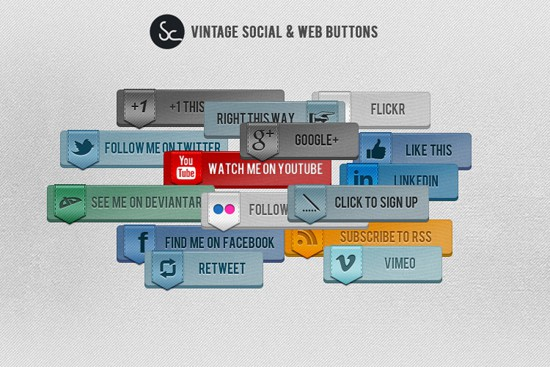 Vintage Social and Web Buttons