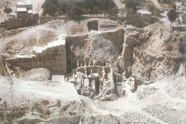 Excavations stepped stone structure 10thC BC foundation for walls - King David's Palace ?