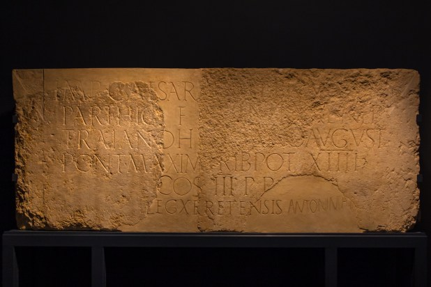 nscription dedicated by X Legion to Hadrian, 130 CE. Sandstone, 109 * 275 cm. Found in Jerusalem in two parts, one held by the Israel Antiquities Authority at the Rockefeller Museum, the other by the Studium Biblicum Franciscanum. Brought together for display at the Israel Museum, January 2016 Photo:Oren Rozen