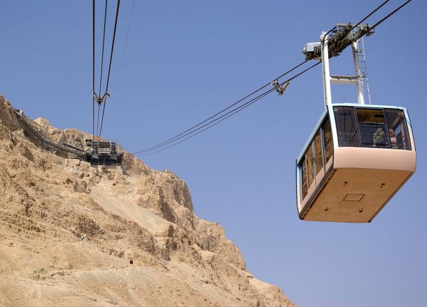 Cable car (Masada cableway) heading down from Masada Photo:Soerfm