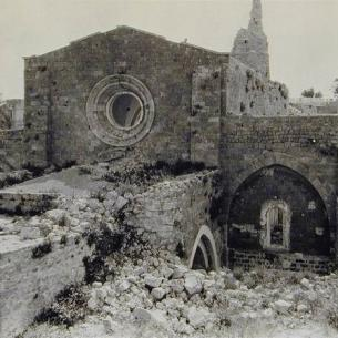 The West facade of the Great Mosque reflects Crusader architectural style. Picture taken after British bombardment in 1917