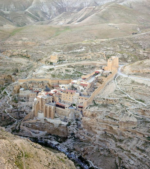 Mar Saba seen from the air. Photo: Godot13