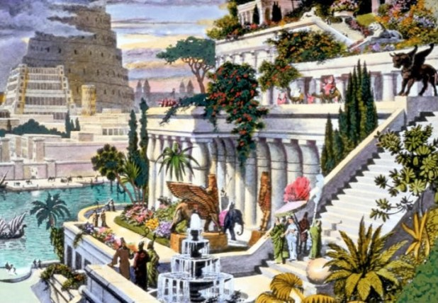 This hand-coloured engraving, probably made in the 19th century after the first excavations in the Assyrian capitals, depicts the fabled Hanging Gardens, with the Tower of Babel in the background.