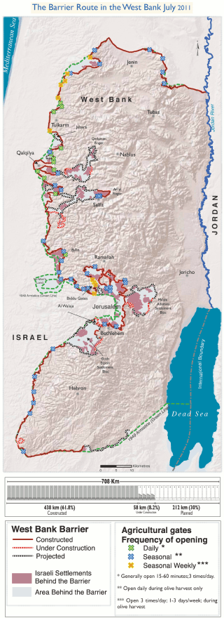 The barrier route as of July 2011: 438 km (272 mi) finished, 58 km (36 mi) under construction, 212 km (132 mi) planned. Adaptation of http://www.ochaopt.org/documents/ocha_opt_west_bank_barrier_route_update_july_2011.pdf on OCHAoPt Map Centre. AuthorWickey-nl