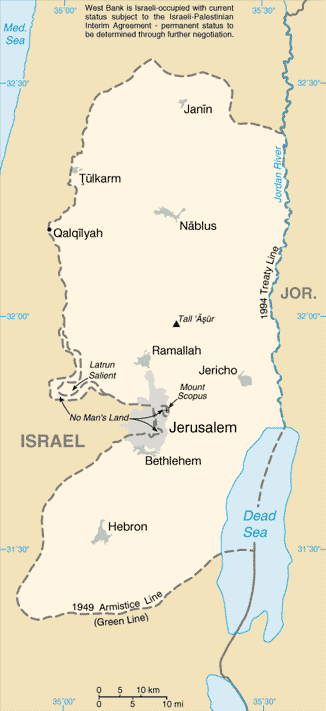 Map of the West Bank