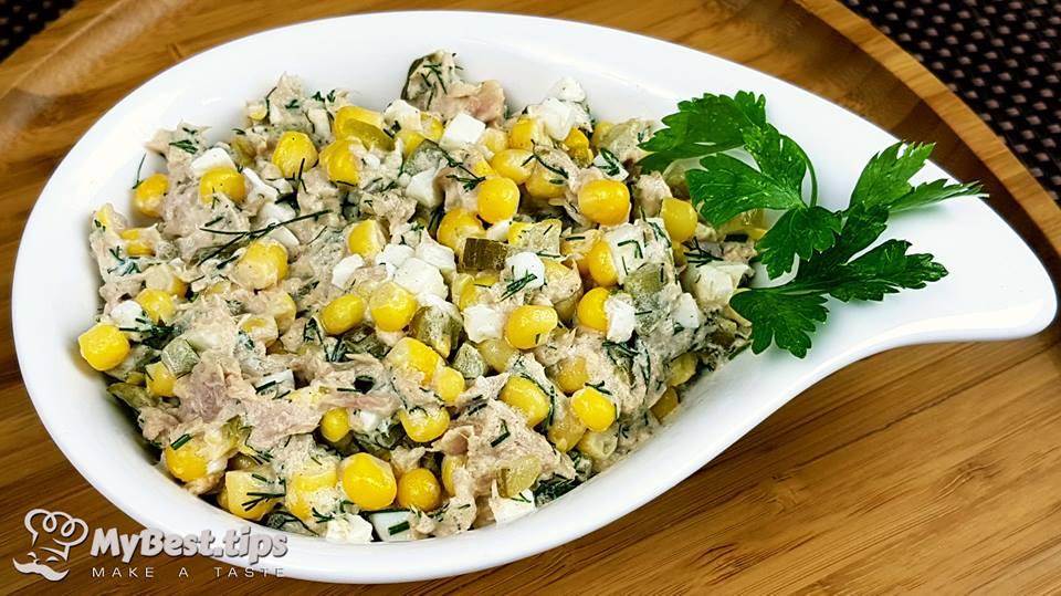 Салат с кукурузой и тунцом консервированным рецепты с