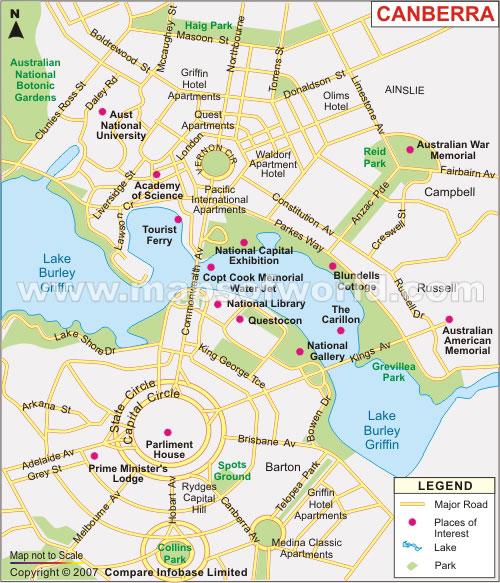 map sydney canberra