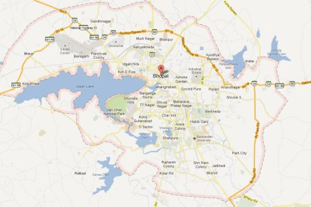 bhopal map and bhopal satellite image