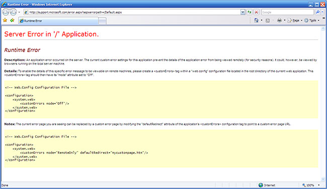 Microsoft Support webpage error