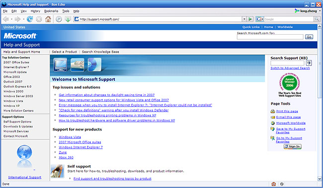 Microsoft Support webpage works in Firefox
