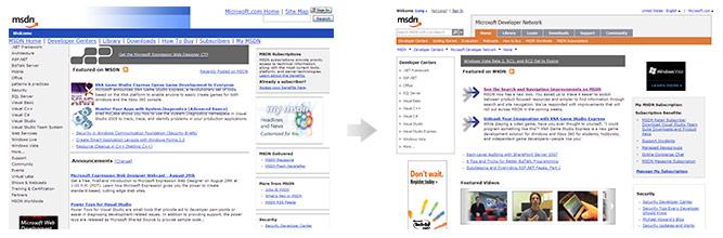 MSDN website changes