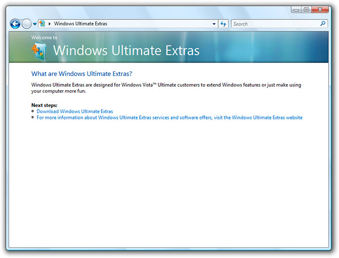 Windows Ultimate Extras in SP1