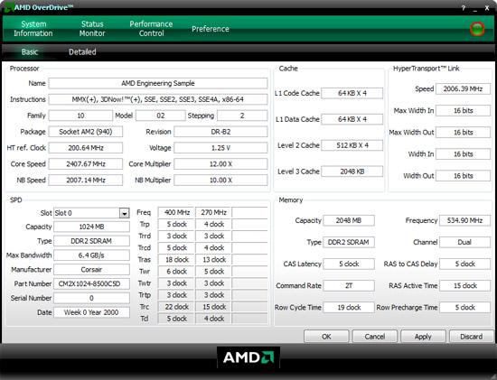AMD OverDrive tool