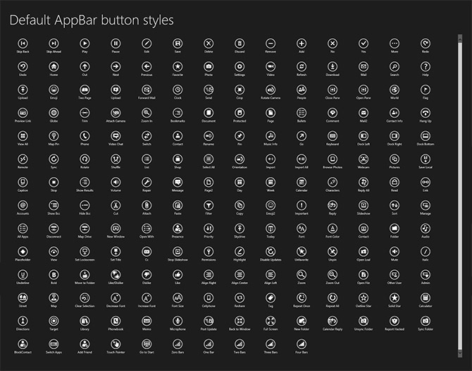 Windows 8 standard AppBar button styles
