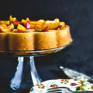 Grilled Bourbon Peach Browned Butter Cake