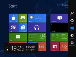 Durch die Wischgeste vom rechten Bildschirmrand des Tablet-PCs zur Display-Mitte erscheint die rechte Menüleiste