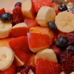 Red Christmas Fruit Salad with Fresh Sweet Clementines