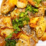 Sauteed Smashed Baby Potatoes with Lemon and Garlic