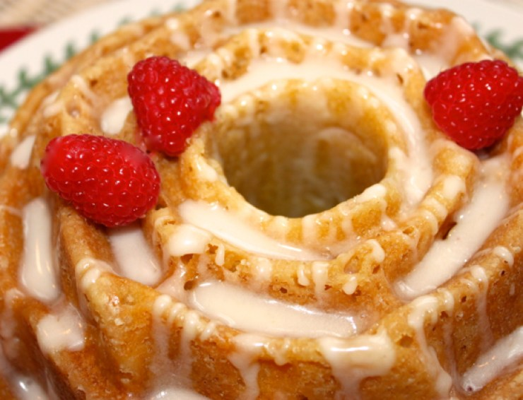 Peach Bundt Cake with Amaretto Cream Glaze