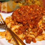Home-Made Tagliatelle Pasta in Bolognese and An Autumn Tablescape