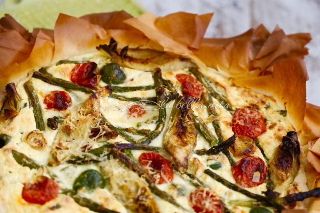 Italian Cheesy Artichoke and Asparagus Phyllo Pie #SundaySupper