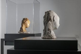 Medardo Rosso, Bambino malato (Sick Child) (left, wax, from Nasher Sculpture Center; right, plaster, from Museo Medardo Rosso). Photograph by Walter Smalling.